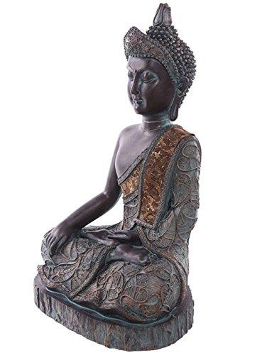 Thai Buddha Statue sitzend meditierend, 28 cm hoch, Maße (H/B/T): 28 x 17,5 x 12 cm, Material: Polyresin, Deko-Figur im ost-asiatischen Buddhismus - Stil, grau, mit Grünspan-Effekt, Modell:Hand oben