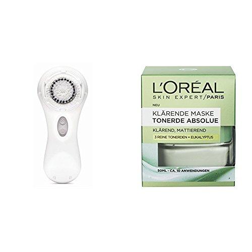 Clarisonic Elektrische Gesichtsreinigungsbürste Mia 2 White, 1 Stück + L'Oréal Paris Tonerde Absolue Klärende Maske, 1er Pack (1 x 50 ml)