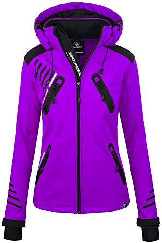 Rock Creek Damen Softshell Jacke Outdoorjacke Windbreaker Übergangs Jacke - Violett - 44/XXL