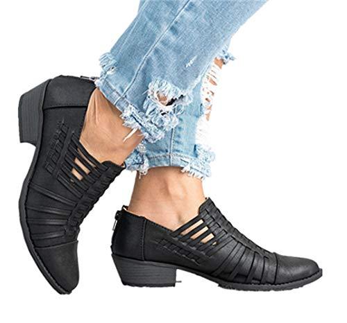 Damen Lederschuhe Pointed Elegant Block Heels Reißverschluss Trichterabsatz Herbst Outdoor Schuhe Frauen Wedge Sneakers 5cm Schwarz 35