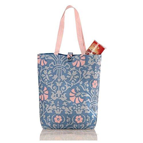 FunYoung Canvas Beuteltasche Schultertasche Einkaufstasche Segeltuchtasche Blumenmuster (Blaurosa)