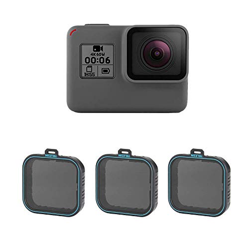 TELESIN - Juego de filtros ND para GoPro Hero 2018, Hero 5, Hero 6.  Este filtro ND multicapa es un accesorio indispensable para cualquier bolsa de cámara de fotógrafo. Los filtros ND reducen la cantidad de luz visible que entra en la lente, lo que p...