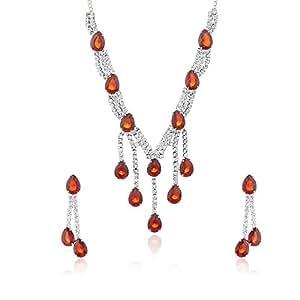 Oviya Red Velvet Pears Austrian Crystal Necklace set NL4101012Red