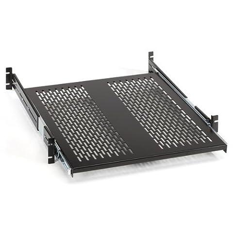 Black Box Rackmount Sliding Vented 4-Point Shelf, 23 Rails by Black Box