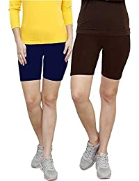 Careplus Premiun Cotton Lycra Cycling Shorts for Girls ( PackOf 2 )