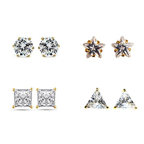 Archi Collection Jewellery Combo of Gold Plated Solitaire Stud Earrings for Girls...