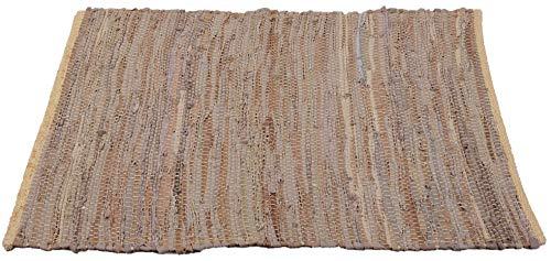 Bestlivings Teppich Läufer Matte Unterlage Vorleger Fußabtreter, Breite Auswahl an Modernen Fleckerl- und Baumwollteppichen (60x90cm / Leder Beige)