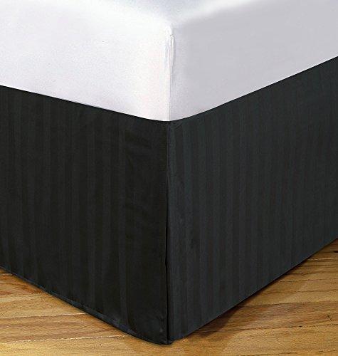 DreamSpace Microfiber Damask Stripe 14 Bedskirt, Full, Black by DreamSpace -