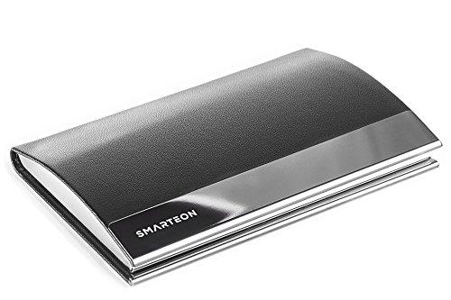 SMARTEON Visitenkartenetui - Hochwertiges Kartenetui aus Edelstahl in Hoher Qualität, Eleganter Premium Visitenkartenhalter als Business Accessoire, Kunstleder/PU Leder mit Magnetverschluss(schwarz)