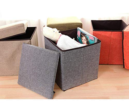 ARG Foldable Ottoman Storage Box Cum Stool - Linen Fabric Foldable Basket Cubes Organizer Boxes Containers Drawers with Lid (Grey Colour)