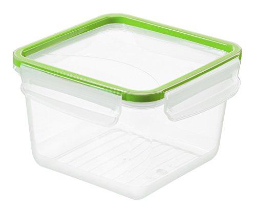 Rotho 1162605518 Frischhaltedose Clic and Lock, Aromafeste Aufbewahrungsbox mit Deckel, Inhalt 1,4 L, 16,1 x 16,1 x 10,3 cm, Transparent/Grün (Quadratische Aufbewahrungsbox)