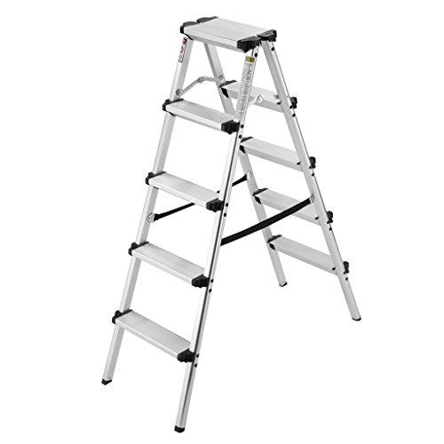Finether Trittleiter Aluminium Klapptritt mit 2 x 5 Stufen Leicht 3.5 kg Rostfrei Leiter begehbar 150 kg Traglast Haushaltsleiter beidseitig mit Anti-Rutsch-Profil