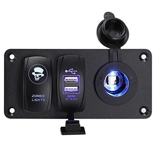 Lynn025Keats 5 Pin 6 Gang LED Rocker Switch Panel mit Digitalvoltmeter Dual USB Ladegerät