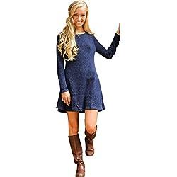 Kleid,MoKingTop Damen Crew Neck Pullover dünne beiläufige gestrickten Pullover Minikleid (L, blau)