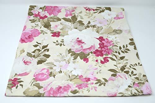 Konfektion Jürgen Schleiß Kissenhülle Zierkissenhülle Tischdecke Rosen Blumen grau rosa/75% Baumwolle,25% PES/Couchkissen Made in Germany in verschiedenen Größen 40x40-60x60 (Tischdecke 60x60cm) (60 X 40 Tischdecke)