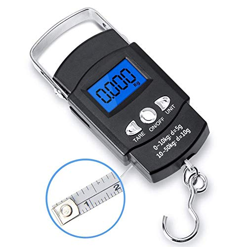 Fishing Scale 110lb/50kg Backlit LCD Screen Portable Electronic Balance  Digital Fish Hook Hanging Scale with Measuring Tape Ruler Buckle #16-TPC