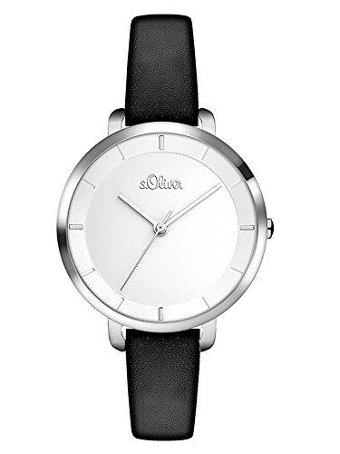 s.Oliver Damen Analog Quarz Uhr mit Leder Armband SO-3453-LQ
