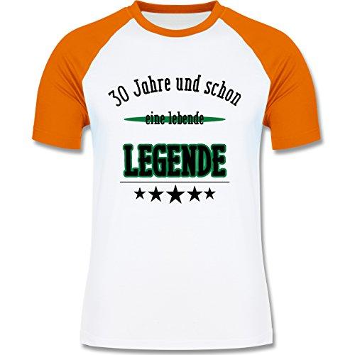 Geburtstag - 30.Geburtstag Legende Fun Geschenk - zweifarbiges Baseballshirt für Männer Weiß/Orange