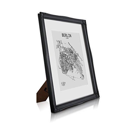 Antik Bilderrahmen A3 - Shabby Chic mit Passepartout für A4 Fotos - Plexiglas - 2,5 cm Rahmenbreite...