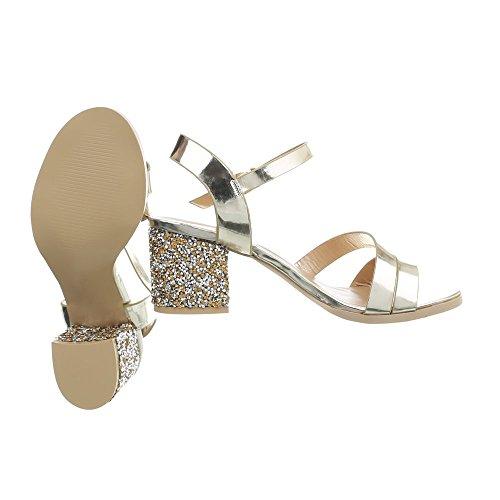 Ital-Design High Heel Sandaletten Damenschuhe Pump Strass Besetzte Schnalle Sandalen Gold P-731