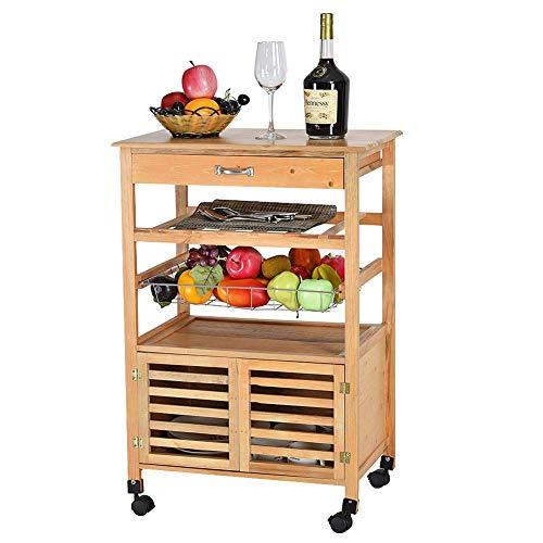 CHRBUF Kücheninsel-Trolley mit Schublade, rollbarer Küchenwagen aus Holz mit großem Ablagekorb mit Türen für Küche, Wohnzimmer und Büro