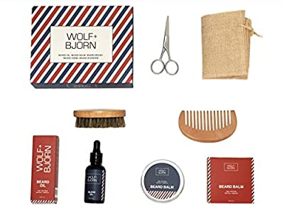 WOLF + BJORN Beard Grooming Kit - Beard Brush, Beard Comb, Beard Oil, Beard Balm, Scissors + Travel Bag. The Premium Men's Gift Set, Perfect for Styling, Shaping and Growth