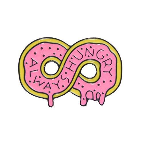 JTXZD Brosche Rosa Sammlungen Zombie Pizza Donut Hot Dog Banana Auto unendlich Immer hungrig harten Emaille Revers Pin Abzeichen (Hot Dog Kostümen)