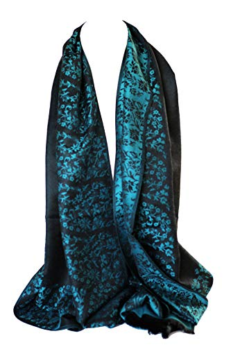 Qualität zwei doppelseitigen Druck selbst geprägte Pashmina Feel Wrap Schal Stola Schal (Türkis & Schwarz Blumen)