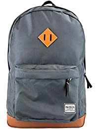 Benteng Grey Premium Leather Bottom Backpack For Books, Travel And Collage School Backpack Fits For 15-Inch Laptop...