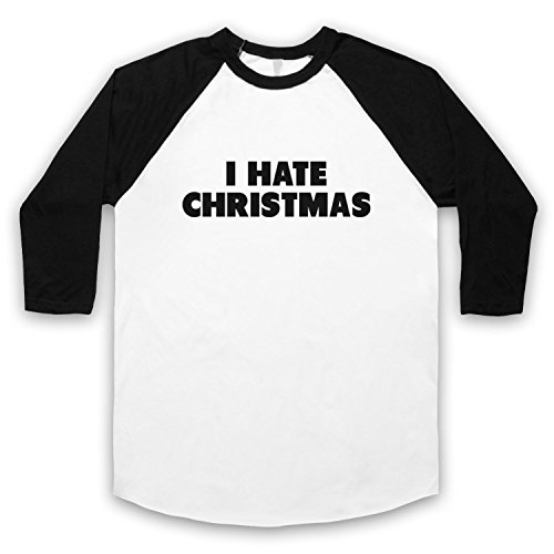 I Hate Christmas Funny Anti Xmas Slogan 3/4 Hulse Retro Baseball T-Shirt Weis & Schwarz