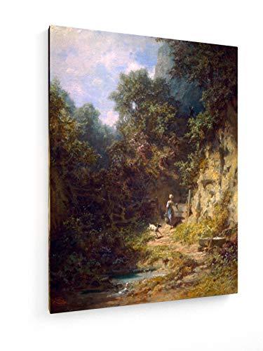 Carl Spitzweg - Mädchen mit Ziegenmalerei - 30x40 cm - Leinwandbild auf Keilrahmen - Wand-Bild -...