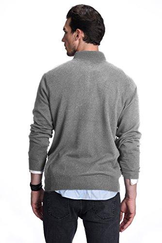 STATE CASHMERE Pullover aus 100% reinem Kaschmir mit halblangen Reißverschluss und Kragen für Herren Grau Meliert