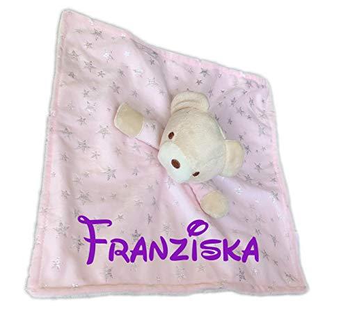 KIDDI-MEDIA Baby Kuscheltuch mit Namen Bestickt (kein Druck) / wunderschönes 3D Motiv in 3 versch. Farben - ideal als Schnuffeltuch und Trösterchen (rosa - BÄR)