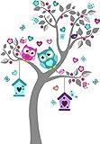 madras24 Sticker Mural pour Enfants Mur pour Un Enfant Jardin d'enfants des La Chambre des Enfants Salon Chambre à Coucher école Décoration Jungle forêt Animaux Arbre hiboux Hibou MK93S XL