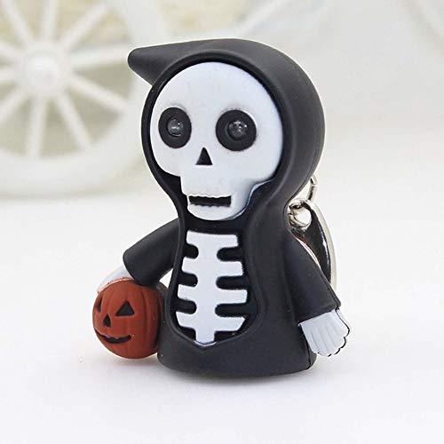 Sen-Sen Creative Halloween Keyring mit LED & Sound Emitting Horror Skull Keychain - weiß & schwarz