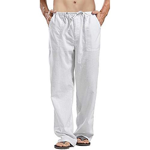 Rera Hommes Pantalons Décontractés de Plage Coton Lin Pantalon en Vrac Jambe Droit Harem Cheville Lâche Jambe Large Pants Casual Confortable