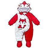 PER Babies Strampler mit Kapuze Pyjamas Winter Sleepingwear für 0-12Monate