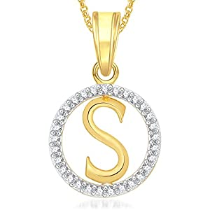 MEENAZ Gold Plated 'S' Letter Alphabet Love Heart Chain Necklace Pendant for Women and Men