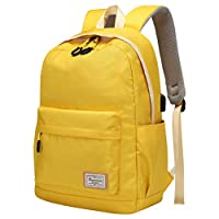 Travel Laptop Backpack Rucksack for Womens Mens,Modoker Vintage College School Backpack with USB Charging Port,Multipurpose Daypack Computer Bag Fits 15.6 inch Yellow