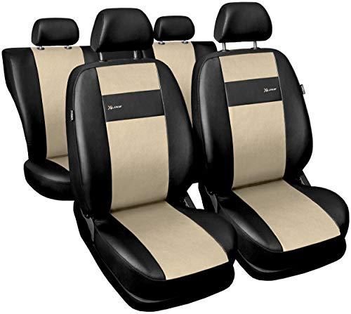 GSC Sitzbezüge Auto Komplett 5-Sitze Universal Autositzbezüge Schonbezüge Vorne Kunst Leder mit Airbag System X-LINE, kompatibel mit Kia Rio (Kia Auto Rio Sitzbezüge)