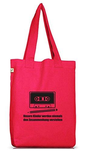 Shirtstreet24, Bleistift - Kassette, Jutebeutel Stoff Tasche Earth Positive (ONE SIZE) Hot Pink