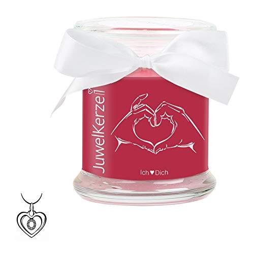 """JuwelKerze\""""Ich Liebe Dich - Kerze im Glas mit Schmuck - Grosse rote Duftkerze mit Überraschung als Geschenk für Sie (Silber Charm, Brenndauer: 60 Stunden)"""
