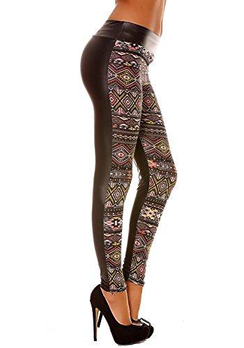 dmarkevous - Leggings d'hiver femme coloré en Jaune et noir, motifs fantaisie style ethnique Jaune