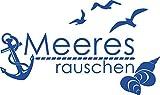 GRAZDesign Wandtattoo Badezimmer Meeresrauschen - Maritime Dekoration maritim mit Anker und Muscheln - Wandtattoo Möwen / 51x30cm / 650278_30_052