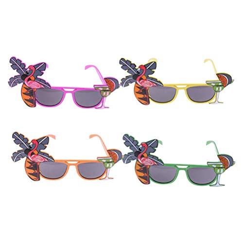 Amosfun Partybrille Kunststoff Kokospalme Cocktail Neuheit Sonnenbrille Gläser Kostüm Gläser Fotorequisiten Hawaiian Party Gastgeschenk 4 Stück