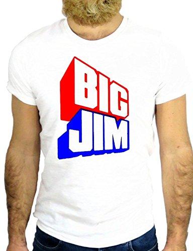 T SHIRT JODE Z2289 BIG JIM COOL VINTAGE FUNNY LOGO GAME USA EUROPE ROCK GGG24 BIANCA - WHITE