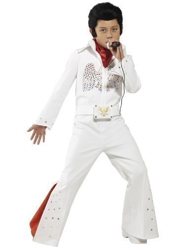 ungen Elvis Presley Outfit Prominenter Musik Star 1950s 50er Rock N Roll Buch Tag Verkleidung Outfit - Weiß, 128-140 - 7-9 Jahre (Elvis-outfit)