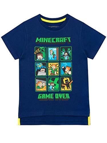 Minecraft Jungen Creeper and Steve T-Shirt Blau 140 (Minecraft Kinder T-shirts)