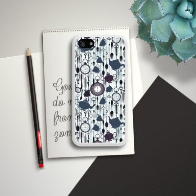 Apple iPhone 5s Housse Étui Protection Coque Thé heure temps Motif Motif Housse en silicone blanc