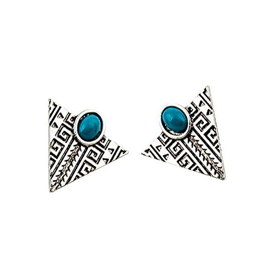 Qinlee Damen Ohrringe Retro Ethnisch Stil Dreieckig Ohrstecker Gravur Stil Ohrringe Mode Geschenk Elegant Schmuck Mädchen Ohr Nagel Ohrringe Ohr Accessoires Earrings (Silber)